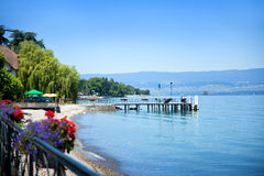 Thonon les Bains quay. Lake Geneva, France royalty free stock photos