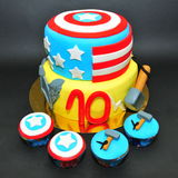 Thor and Captain America cake and cupcakes Stock Image