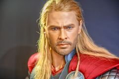 Thor God of Thunder. Tokyo, Japan - April 20, 2017: portrait of Thor, the God of Thunder model with from Age of Heroes movie at Mori Tower, Roppongi Hills Royalty Free Stock Images