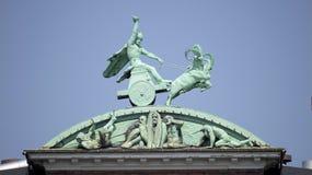 Thor and his hammer. Statue of Thor and his hammer, Carlsberg, Carlshill, Copenhagen, Denmark Royalty Free Stock Photo