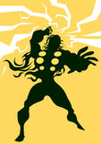 Thor, illustration. Thor, Black Silhouette of a Man, with Lightning Bolts, Yellow Background, vector illustration Stock Photography