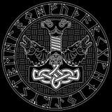 Thor s młot - Mjollnir, Skandynawski runes ornament i dwa, wolfs royalty ilustracja