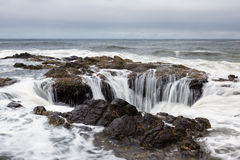 Thor's Well, Oregon Coast. Thor's Well, a feature in the Oregon coast where the water seems to drain down a lava rock sinkhole Royalty Free Stock Photo