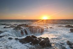 Thor's Well sunset, Cape Perpetua, Oregon Royalty Free Stock Photo