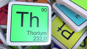 Thorium Th block on the pile of periodic table of the chemical elements blocks. 3D rendering Royalty Free Stock Photography
