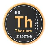 Thorium Th chemical element. 3D rendering. Isolated on white background stock illustration