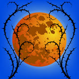 Thorn against moon. Vector Background. Royalty Free Stock Photo