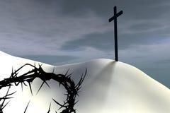 Thorn crown near a cross. A thorn crown lies near a cross against overcast sky stock illustration