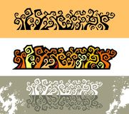 Thorn floral ornament. In three color variant, vector illustration Royalty Free Stock Photo