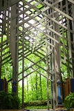 Thorncrown Chapel - interior front. Thorncrown Chapel, Eureka Springs, Arkansas was designed by renowned architect E. Fay Jones. The style was called Ozark Royalty Free Stock Image