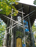 Thorncrown Chapel 2. Chapel is a wood, metal and glass structure in a forest setting near Eureka Springs, Arkansas Stock Photos