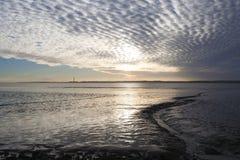 从Thorney海湾, Canvey海岛,艾塞克斯,英国的看法 库存图片