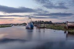 Thornham hamn, Norfolk UK arkivfoto