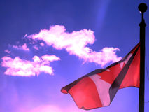 Thornhill Flag 2017. Canadian flag waving in the blue sky above the city Thornhill, Canada, June 21, 2017 Royalty Free Stock Photography