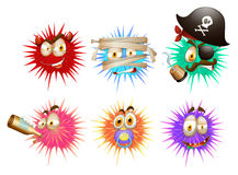 Thorny ball with faces Royalty Free Stock Image
