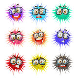 Thorny balls with faces Royalty Free Stock Photos