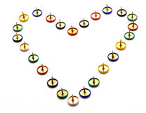 Thorny Heart. A heart-shaped made up of drawing pins Royalty Free Stock Image