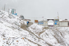 Thorong La, Nepal - October 15: Sherpa delivering supplies to high altitude base camp at 4540 m in snow blizzard, on. October 2015 in Thorong La, Nepal Stock Photography