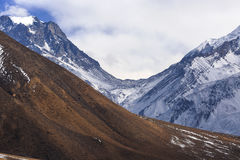 Thorong La Pass from Lower Mustang Kali Gandaki valley stock photography