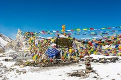 Thorong La pass 5416m, highest point of Annapurna circuit trek. royalty free stock photos