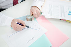 Thorough analysis of a financial curve Stock Photography