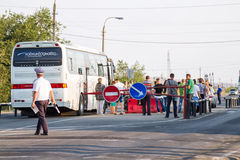 Thorough passport control all intercity buses, the post of polic Stock Photography