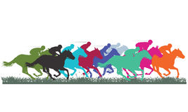 Thoroughbred horse racing. Colorful silhouettes of thoroughbred horses racing across grass Royalty Free Stock Photography