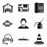 Thoroughfare icons set, simple style. Thoroughfare icons set. Simple set of 9 thoroughfare vector icons for web isolated on white background Royalty Free Stock Image