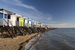 Thorpe Bay Sea Front, near Southend- on-Sea, Essex, England. Beach Huts along the sea front at Thorpe Bay, near Southend-on-Sea, Essex, England Stock Photography