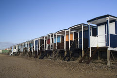 Thorpe Podpalany Denny przód blisko Southend- morza, Essex, Anglia Obrazy Stock