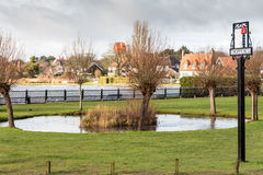 Thorpeness Boating Lake, House and Sign Stock Photography