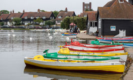 THORPENESS, SUFFOLK/UK - JUNE 1 : Group of rowing boats at Thorp Royalty Free Stock Photo