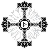 Thors hammer - Mjolnir and Norse runes. Isolated on white, vector illustration stock illustration