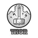 Thors powerful hamer that falls on earth monochrome illustration Stock Image
