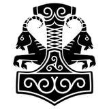 Thorshamer - Mjolnir, en twee rideable geiten wie de blokkenwagen van godsthors in Norse mythologie trekken royalty-vrije illustratie