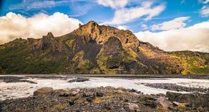 Thorsmork, aumento di vista del fianco di una montagna dell'Islanda Fotografie Stock Libere da Diritti