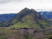 Thorsmork park narodowy w Iceland - zielona góra z stromym obrazy royalty free