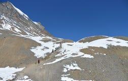 Thorung对Daulagiri山的La通行证 安纳布尔纳峰艰苦跋涉,喜马拉雅山山 免版税库存图片