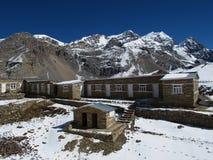 Thorung La High Camp and Purbung Himal Royalty Free Stock Image