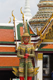 Ancient giant sculpture of The Emerald Buddha temple in Bangkok, Royalty Free Stock Images