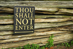 Thou Shalt Not Enter Stock Photography