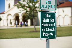 Thou shalt not skateboard at church Royalty Free Stock Photo