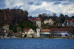 Small town at lake constance in spring stock images