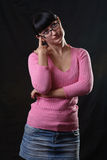 Thoughful student girl with glasses Royalty Free Stock Photography