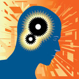 Thought. Vector illustration of a human thinking with gears inside his head stock illustration