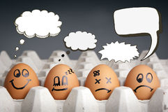 Thought Balloon Egg Characters. Mental health concept in playful style with egg characters displaying different emotions and blank speech bubbles royalty free stock photos