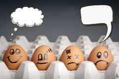 Thought Balloon Egg Characters. Mental health concept in playful style with egg characters displaying different emotions and blank speech bubbles Stock Images