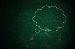 Thought balloon. On a green chalkboard Royalty Free Stock Photo