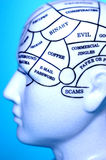 Thought Brain Head Memory. Model of a head with thoughts written on it Stock Image