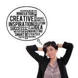 Thought bubble of business concept. Attractive Asian businesswoman looking at thought bubble of creative business typography doodle, over white background Stock Photo